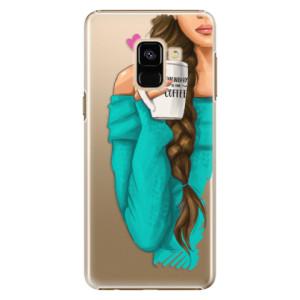Plastové pouzdro iSaprio Brunetka s kafčem na mobil Samsung Galaxy A8 2018