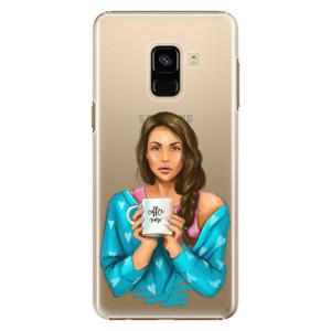 Plastové pouzdro iSaprio Coffee Now Brunetka na mobil Samsung Galaxy A8 2018