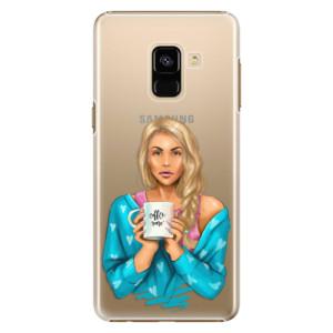 Plastové pouzdro iSaprio Coffee Now Blondýna na mobil Samsung Galaxy A8 2018