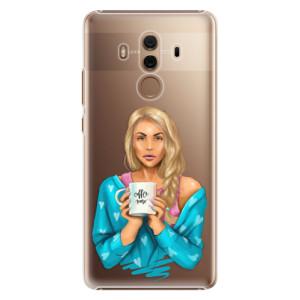 Plastové pouzdro iSaprio Coffee Now Blondýna na mobil Huawei Mate 10 Pro