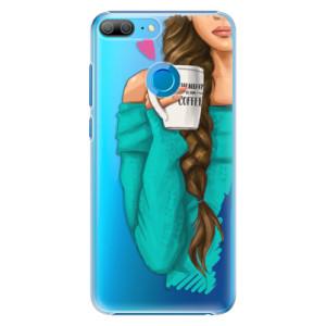 Plastové pouzdro iSaprio Brunetka s kafčem na mobil Honor 9 Lite