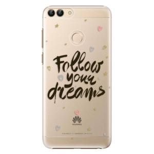 Plastové pouzdro iSaprio Follow Your Dreams černý na mobil Huawei P Smart