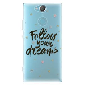 Plastové pouzdro iSaprio Follow Your Dreams černý na mobil Sony Xperia XA2