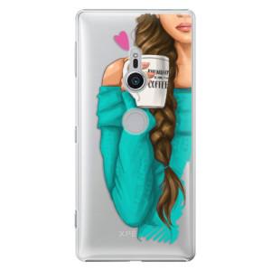 Plastové pouzdro iSaprio Brunetka s kafčem na mobil Sony Xperia XZ2
