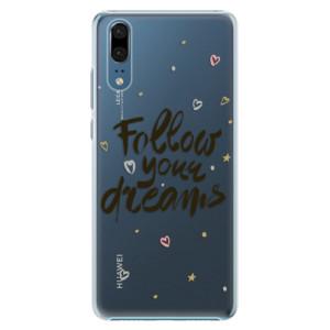 Plastové pouzdro iSaprio Follow Your Dreams černý na mobil Huawei P20