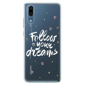 Plastové pouzdro iSaprio Follow Your Dreams bílý na mobil Huawei P20