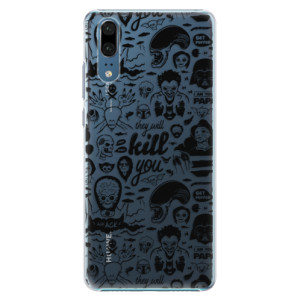 Plastové pouzdro iSaprio Komiks 01 black na mobil Huawei P20