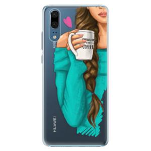 Plastové pouzdro iSaprio Brunetka s kafčem na mobil Huawei P20