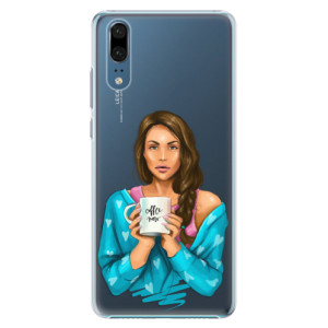 Plastové pouzdro iSaprio Coffee Now Brunetka na mobil Huawei P20