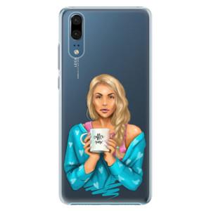 Plastové pouzdro iSaprio Coffee Now Blondýna na mobil Huawei P20