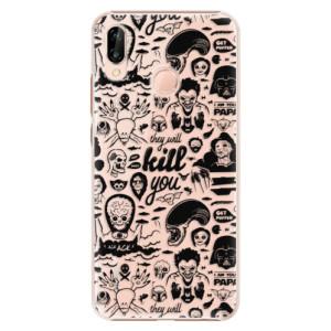 Plastové pouzdro iSaprio Komiks 01 black na mobil Huawei P20 Lite