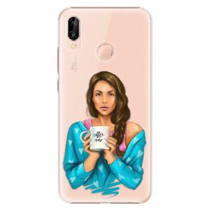 Plastové pouzdro iSaprio Coffee Now Brunetka na mobil Huawei P20 Lite