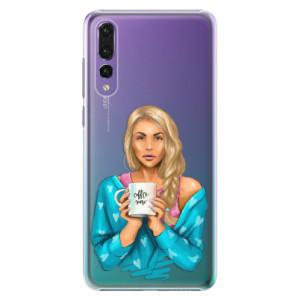 Plastové pouzdro iSaprio Coffee Now Blondýna na mobil Huawei P20 Pro