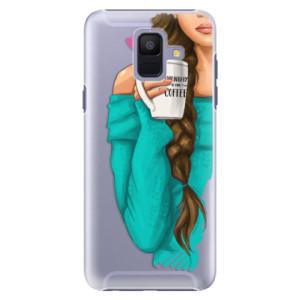 Plastové pouzdro iSaprio Brunetka s kafčem na mobil Samsung Galaxy A6