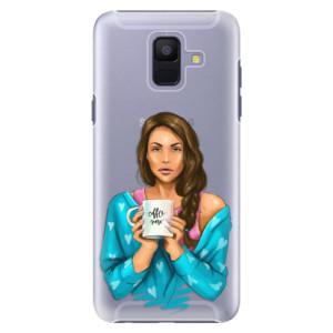 Plastové pouzdro iSaprio Coffee Now Brunetka na mobil Samsung Galaxy A6