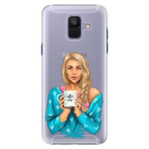 Plastové pouzdro iSaprio Coffee Now Blondýna na mobil Samsung Galaxy A6