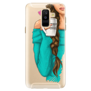 Plastové pouzdro iSaprio Brunetka s kafčem na mobil Samsung Galaxy A6 Plus