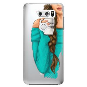 Plastové pouzdro iSaprio Brunetka s kafčem na mobil LG V30
