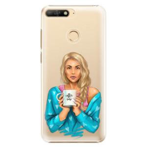 Plastové pouzdro iSaprio Coffee Now Blondýna na mobil Huawei Y6 Prime 2018