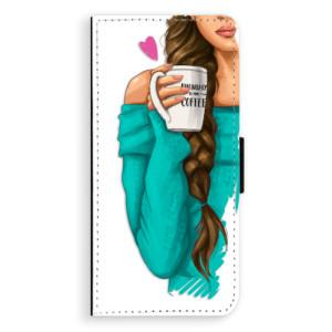 Flipové pouzdro iSaprio Brunetka s kafčem na mobil Samsung Galaxy S8 Plus