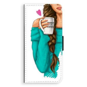 Flipové pouzdro iSaprio Brunetka s kafčem na mobil Samsung Galaxy Note 8