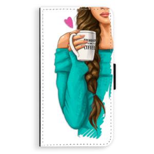 Flipové pouzdro iSaprio Brunetka s kafčem na mobil Samsung Galaxy A5