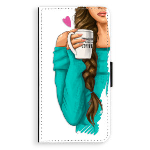 Flipové pouzdro iSaprio Brunetka s kafčem na mobil Samsung Galaxy J5