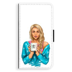 Flipové pouzdro iSaprio Coffee Now Blondýna na mobil Samsung Galaxy J5