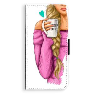 Flipové pouzdro iSaprio Blondýnka s kafčem na mobil Huawei P9