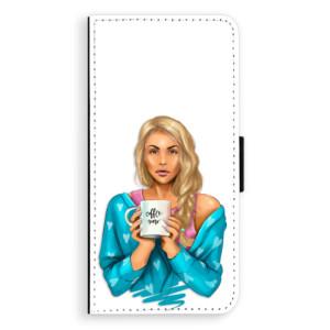 Flipové pouzdro iSaprio Coffee Now Blondýna na mobil Huawei P9