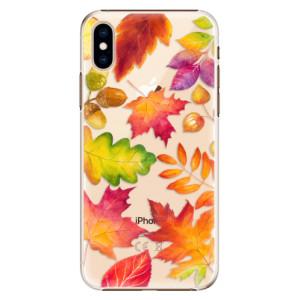 Plastové pouzdro iSaprio Podzimní Lístečky na mobil Apple iPhone XS