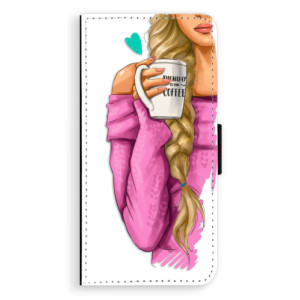 Flipové pouzdro iSaprio Blondýnka s kafčem na mobil Huawei P20