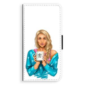 Flipové pouzdro iSaprio Coffee Now Blondýna na mobil Huawei P20
