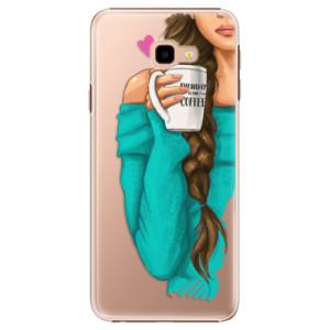 Plastové pouzdro iSaprio Brunetka s kafčem na mobil Samsung Galaxy J4 Plus