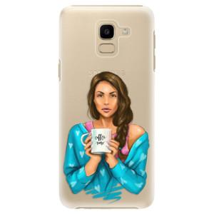 Plastové pouzdro iSaprio Coffee Now Brunetka na mobil Samsung Galaxy J6