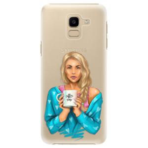 Plastové pouzdro iSaprio Coffee Now Blondýna na mobil Samsung Galaxy J6