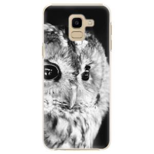 Plastové pouzdro iSaprio BW Sova na mobil Samsung Galaxy J6