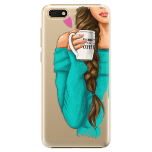 Plastové pouzdro iSaprio Brunetka s kafčem na mobil Honor 7S