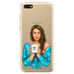 Plastové pouzdro iSaprio Coffee Now Brunetka na mobil Honor 7S