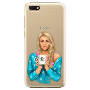 Plastové pouzdro iSaprio Coffee Now Blondýna na mobil Honor 7S