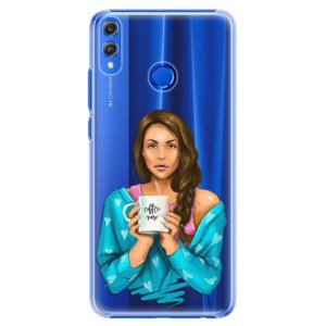 Plastové pouzdro iSaprio Coffee Now Brunetka na mobil Honor 8X