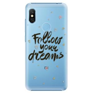 Plastové pouzdro iSaprio Follow Your Dreams černý na mobil Xiaomi Redmi Note 6 Pro