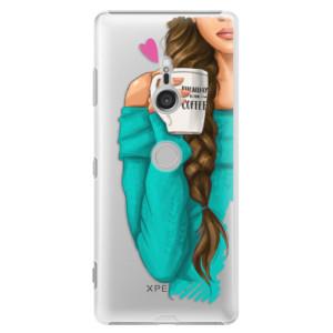 Plastové pouzdro iSaprio Brunetka s kafčem na mobil Sony Xperia XZ3