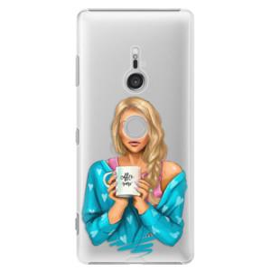 Plastové pouzdro iSaprio Coffee Now Blondýna na mobil Sony Xperia XZ3