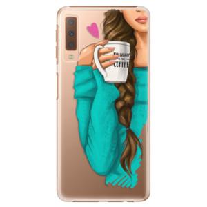 Plastové pouzdro iSaprio Brunetka s kafčem na mobil Samsung Galaxy A7 (2018)