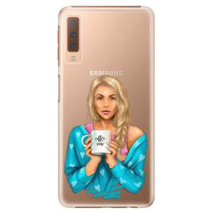 Plastové pouzdro iSaprio Coffee Now Blondýna na mobil Samsung Galaxy A7 (2018)