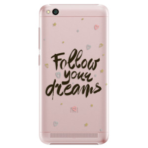 Plastové pouzdro iSaprio Follow Your Dreams černý na mobil Xiaomi Redmi 5A