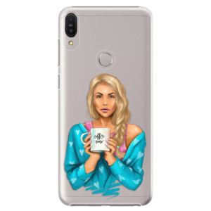Plastové pouzdro iSaprio Coffee Now Blondýna na mobil Asus Zenfone Max Pro ZB602KL
