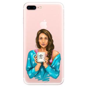 Silikonové pouzdro iSaprio (mléčně zakalené) Coffee Now Brunetka na mobil Apple iPhone 7 Plus