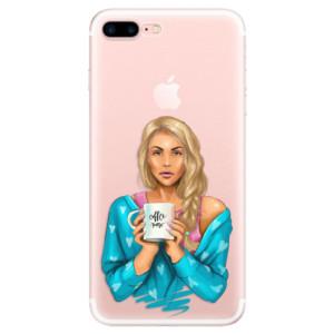 Silikonové pouzdro iSaprio (mléčně zakalené) Coffee Now Blondýna na mobil Apple iPhone 7 Plus
